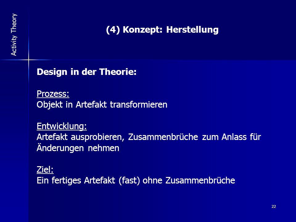 22 Activity Theory (4) Konzept: Herstellung Design in der Theorie: Prozess: Objekt in Artefakt transformieren Entwicklung: Artefakt ausprobieren, Zusammenbrüche zum Anlass für Änderungen nehmen Ziel: Ein fertiges Artefakt (fast) ohne Zusammenbrüche