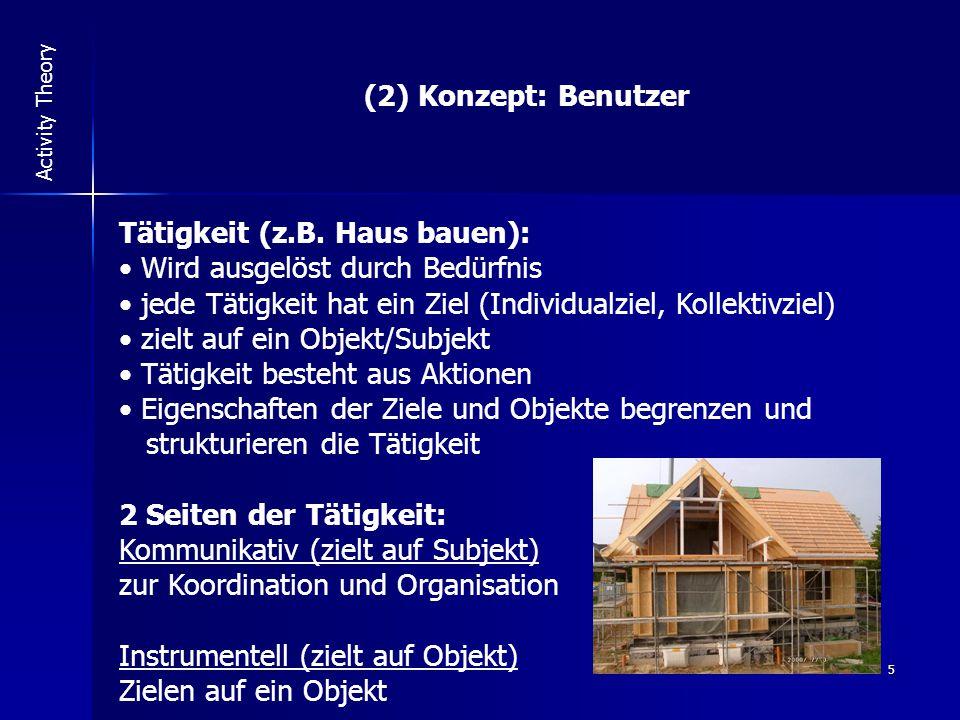 5 Activity Theory (2) Konzept: Benutzer Tätigkeit (z.B.
