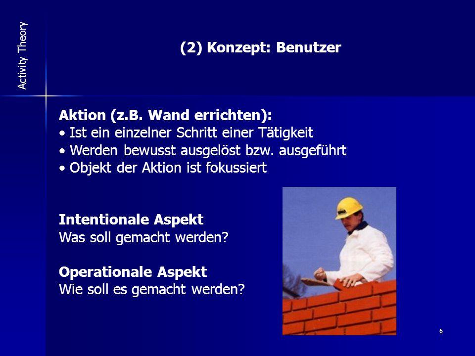 6 Activity Theory (2) Konzept: Benutzer Aktion (z.B.