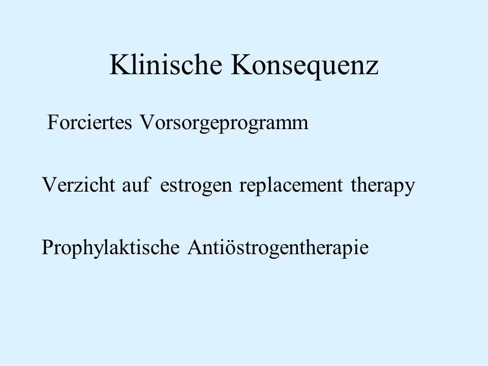 Klinische Konsequenz Forciertes Vorsorgeprogramm Verzicht auf estrogen replacement therapy Prophylaktische Antiöstrogentherapie