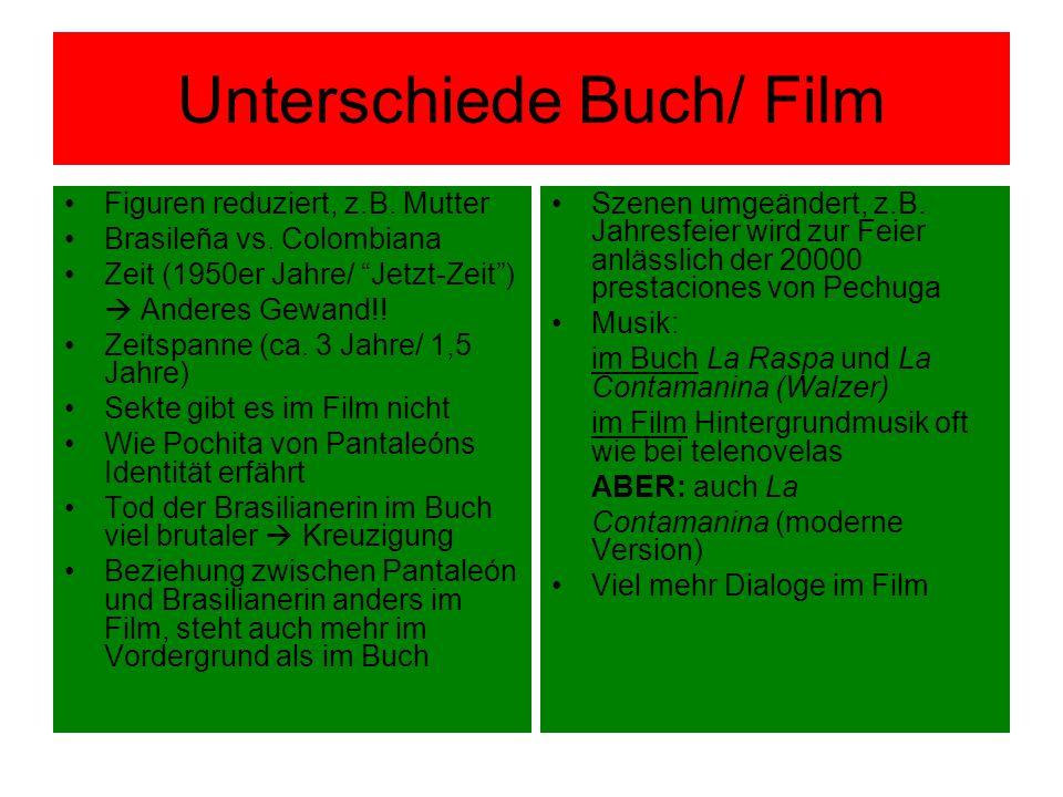"""Unterschiede Buch/ Film Figuren reduziert, z.B. Mutter Brasileña vs. Colombiana Zeit (1950er Jahre/ """"Jetzt-Zeit"""")  Anderes Gewand!! Zeitspanne (ca. 3"""