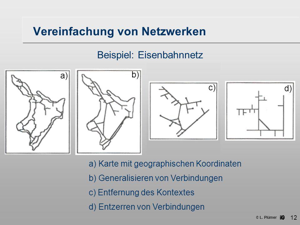 © L. Plümer 12 Vereinfachung von Netzwerken Beispiel: Eisenbahnnetz a) Karte mit geographischen Koordinaten b) Generalisieren von Verbindungen c) Entf