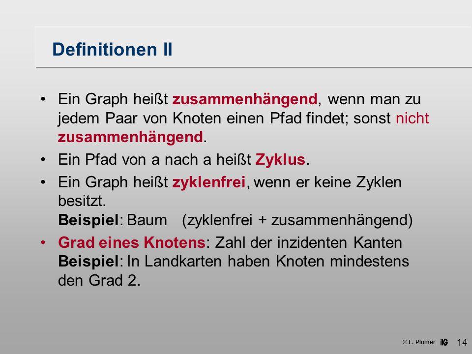 © L. Plümer 14 Definitionen II Ein Graph heißt zusammenhängend, wenn man zu jedem Paar von Knoten einen Pfad findet; sonst nicht zusammenhängend. Ein
