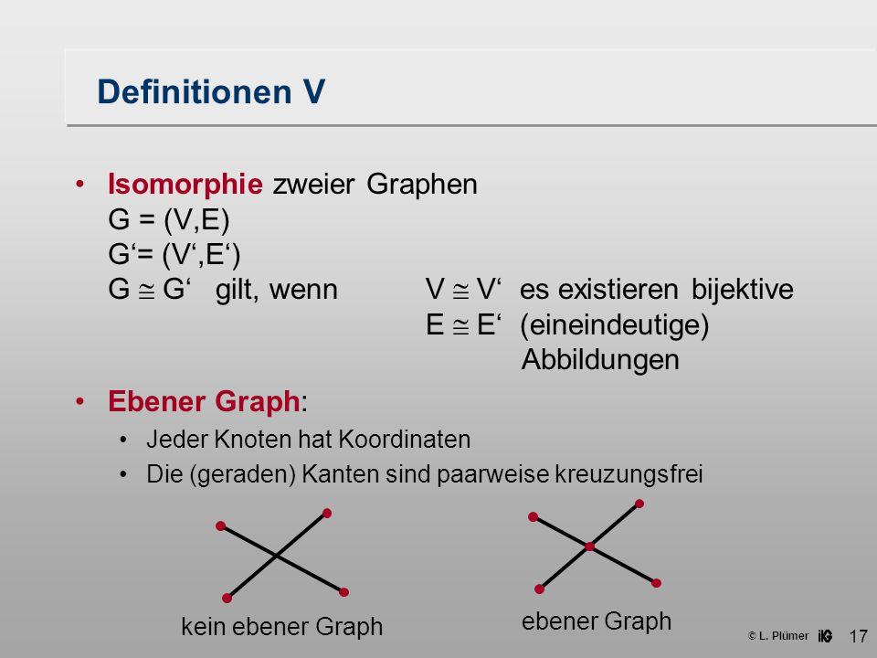 © L. Plümer 17 Definitionen V Isomorphie zweier Graphen G = (V,E) G'= (V',E') G  G' gilt, wennV  V' es existieren bijektive E  E' (eineindeutige) A