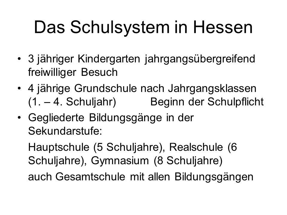 Das Schulsystem in Hessen 3 jähriger Kindergarten jahrgangsübergreifend freiwilliger Besuch 4 jährige Grundschule nach Jahrgangsklassen (1.