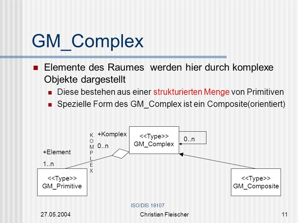 27.05.2004Christian Fleischer11 Elemente des Raumes werden hier durch komplexe Objekte dargestellt Diese bestehen aus einer strukturierten Menge von P