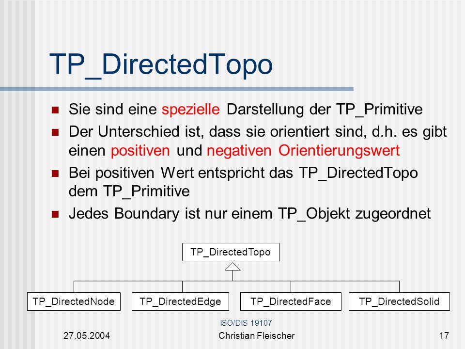 27.05.2004Christian Fleischer17 TP_DirectedTopo Sie sind eine spezielle Darstellung der TP_Primitive Der Unterschied ist, dass sie orientiert sind, d.