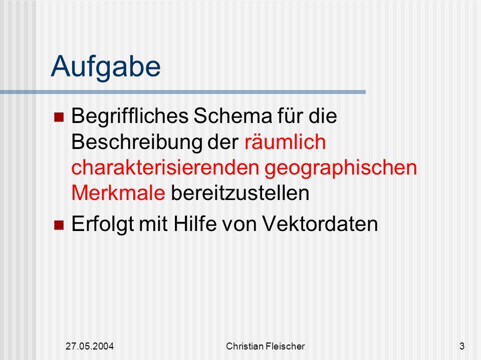27.05.2004Christian Fleischer3 Aufgabe Begriffliches Schema für die Beschreibung der räumlich charakterisierenden geographischen Merkmale bereitzustel