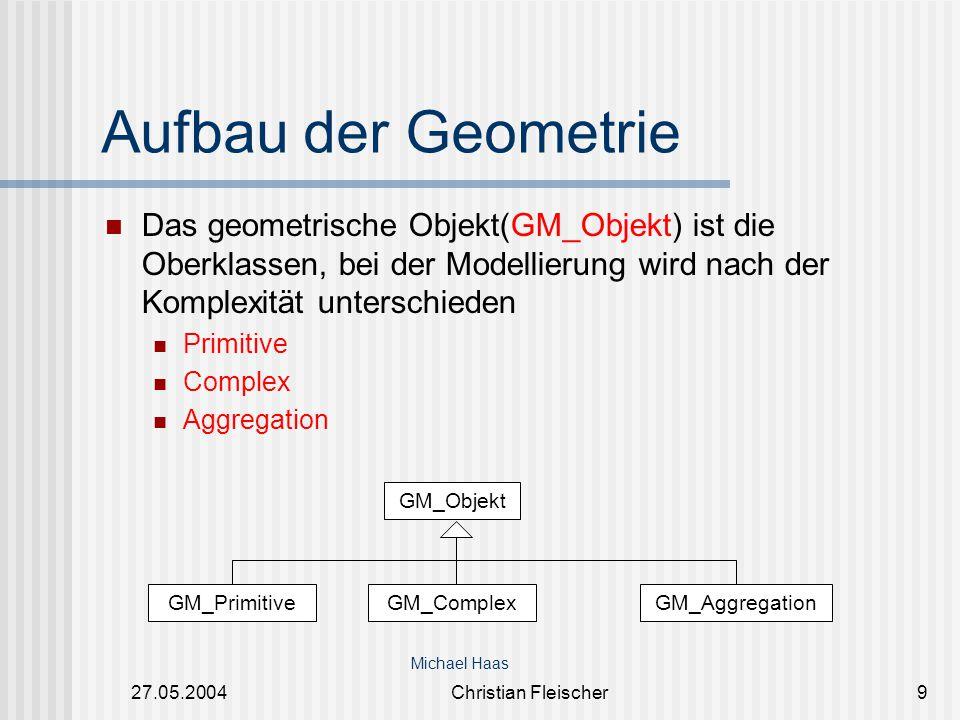 27.05.2004Christian Fleischer9 Aufbau der Geometrie Das geometrische Objekt(GM_Objekt) ist die Oberklassen, bei der Modellierung wird nach der Komplex