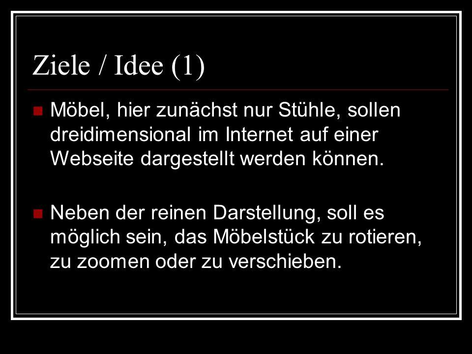 Ziele / Idee (2) Eine Auswahlmöglichkeit für die Beschaffenheit der Möbel, d.h.