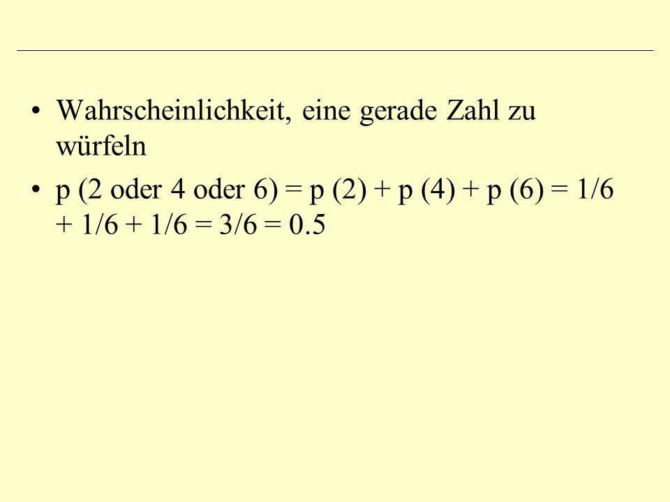 Wahrscheinlichkeit, eine gerade Zahl zu würfeln p (2 oder 4 oder 6) = p (2) + p (4) + p (6) = 1/6 + 1/6 + 1/6 = 3/6 = 0.5