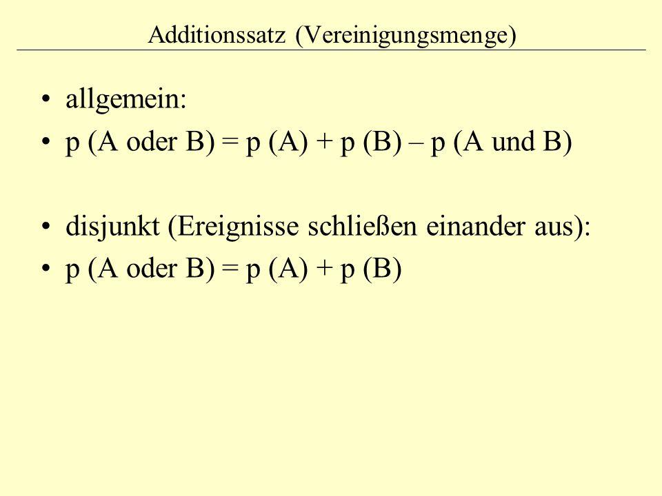 Additionssatz (Vereinigungsmenge) allgemein: p (A oder B) = p (A) + p (B) – p (A und B) disjunkt (Ereignisse schließen einander aus): p (A oder B) = p