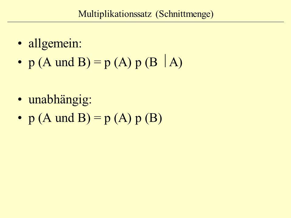 Multiplikationssatz (Schnittmenge) allgemein: p (A und B) = p (A) p (B  A) unabhängig: p (A und B) = p (A) p (B)