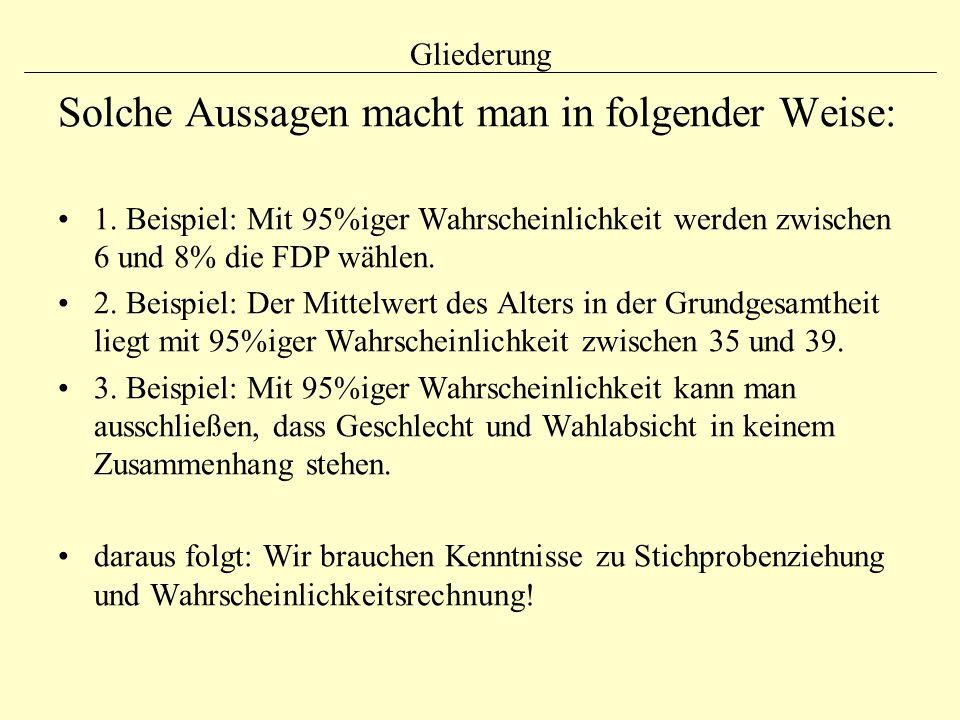 Gliederung Solche Aussagen macht man in folgender Weise: 1. Beispiel: Mit 95%iger Wahrscheinlichkeit werden zwischen 6 und 8% die FDP wählen. 2. Beisp