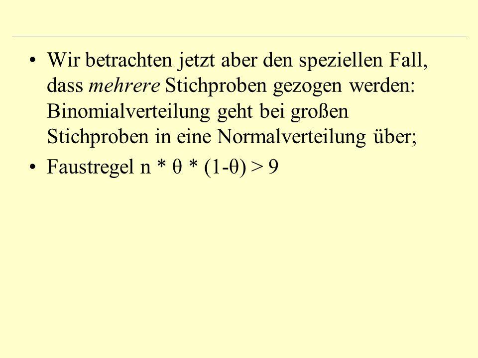Wir betrachten jetzt aber den speziellen Fall, dass mehrere Stichproben gezogen werden: Binomialverteilung geht bei großen Stichproben in eine Normalv
