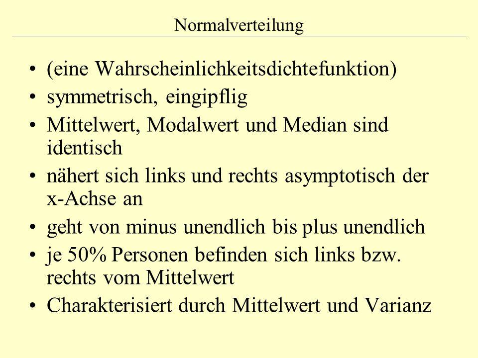 Normalverteilung (eine Wahrscheinlichkeitsdichtefunktion) symmetrisch, eingipflig Mittelwert, Modalwert und Median sind identisch nähert sich links un
