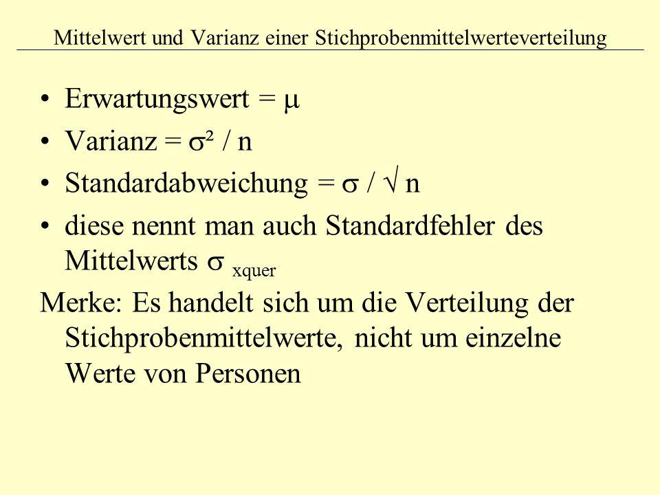 Mittelwert und Varianz einer Stichprobenmittelwerteverteilung Erwartungswert =  Varianz =  ² / n Standardabweichung =  /  n diese nennt man auch S