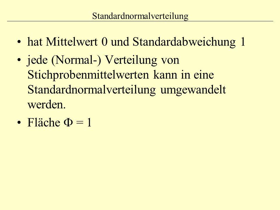 Standardnormalverteilung hat Mittelwert 0 und Standardabweichung 1 jede (Normal-) Verteilung von Stichprobenmittelwerten kann in eine Standardnormalve