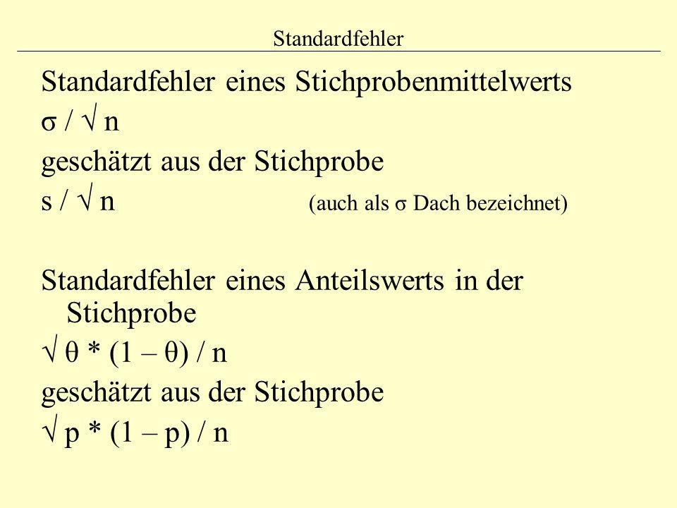 Standardfehler Standardfehler eines Stichprobenmittelwerts σ / √ n geschätzt aus der Stichprobe s / √ n (auch als σ Dach bezeichnet) Standardfehler ei