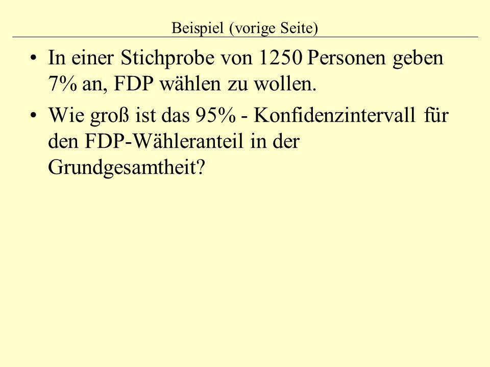 Beispiel (vorige Seite) In einer Stichprobe von 1250 Personen geben 7% an, FDP wählen zu wollen. Wie groß ist das 95% - Konfidenzintervall für den FDP