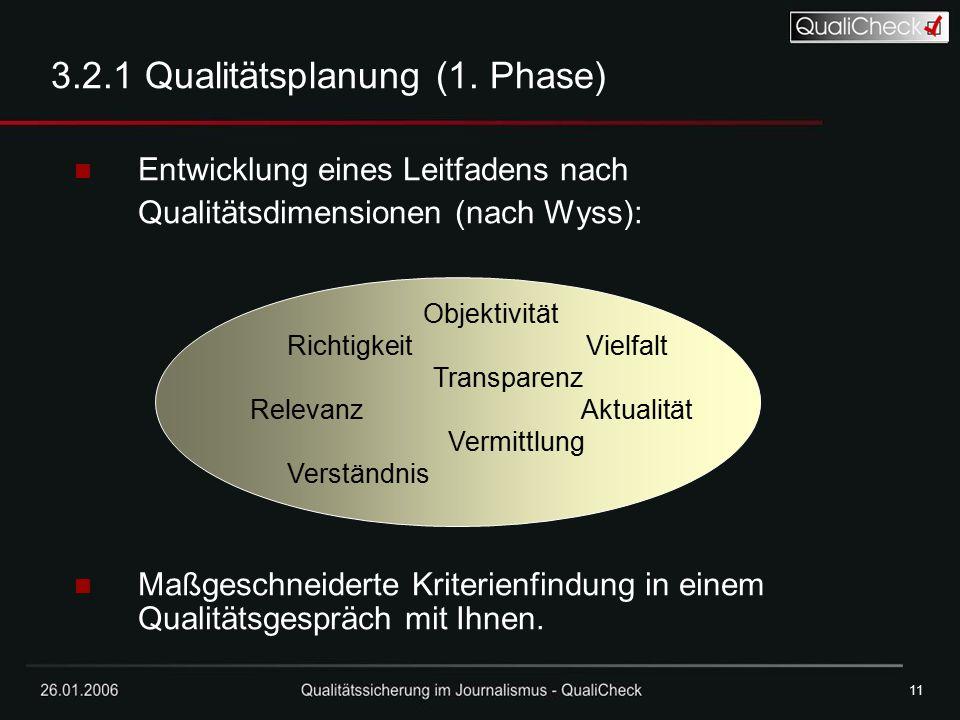 26.01.200611 3.2.1 Qualitätsplanung (1. Phase) Entwicklung eines Leitfadens nach Qualitätsdimensionen (nach Wyss): Maßgeschneiderte Kriterienfindung i
