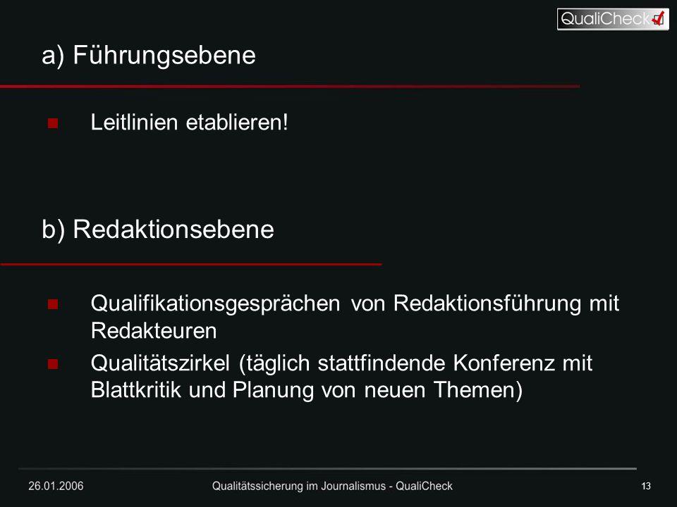 26.01.200613 a) Führungsebene Leitlinien etablieren! Qualifikationsgesprächen von Redaktionsführung mit Redakteuren Qualitätszirkel (täglich stattfind