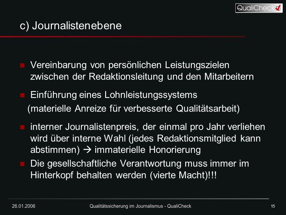 26.01.200615 c) Journalistenebene Vereinbarung von persönlichen Leistungszielen zwischen der Redaktionsleitung und den Mitarbeitern Einführung eines L