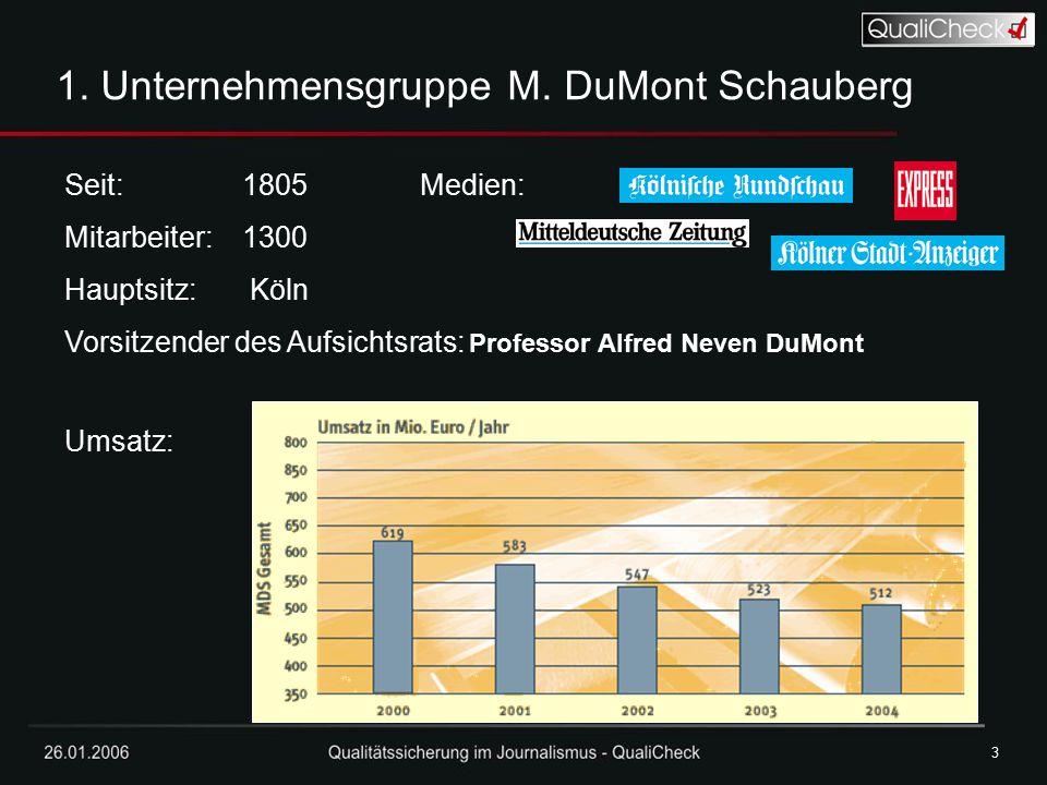 26.01.20063 3 1. Unternehmensgruppe M. DuMont Schauberg Seit: 1805 Medien: Mitarbeiter: 1300 Hauptsitz: Köln Vorsitzender des Aufsichtsrats: Professor