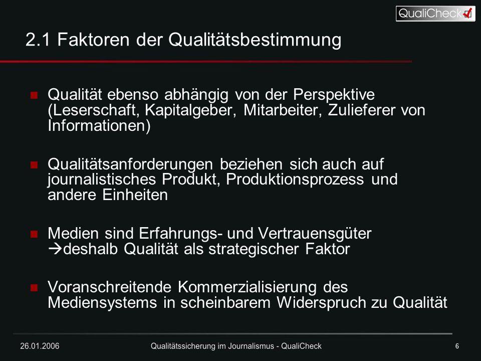 26.01.20066 6 2.1 Faktoren der Qualitätsbestimmung Qualität ebenso abhängig von der Perspektive (Leserschaft, Kapitalgeber, Mitarbeiter, Zulieferer vo