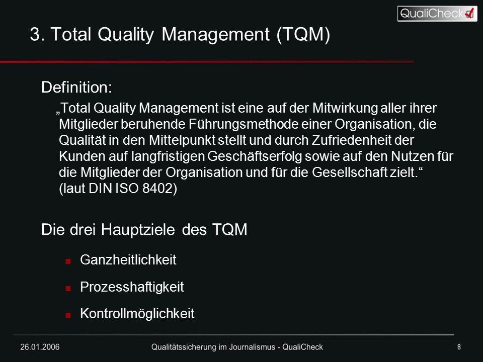 """26.01.20068 8 3. Total Quality Management (TQM) Definition: """"Total Quality Management ist eine auf der Mitwirkung aller ihrer Mitglieder beruhende Füh"""
