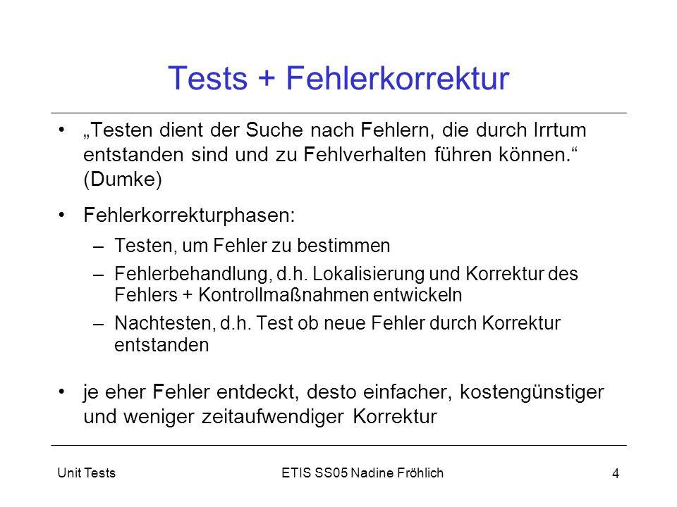 """ETIS SS05 Nadine FröhlichUnit Tests 4 Tests + Fehlerkorrektur """"Testen dient der Suche nach Fehlern, die durch Irrtum entstanden sind und zu Fehlverhal"""
