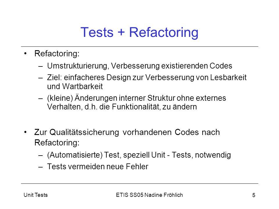 ETIS SS05 Nadine FröhlichUnit Tests 5 Tests + Refactoring Refactoring: –Umstrukturierung, Verbesserung existierenden Codes –Ziel: einfacheres Design z