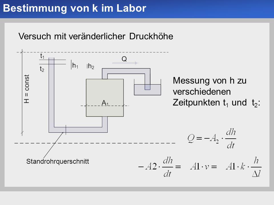Universität der Bundeswehr München Institut für Bodenmechanik und Grundbau -10- Bestimmung von k im Labor Versuch mit veränderlicher Druckhöhe Standrohrquerschnitt Messung von h zu verschiedenen Zeitpunkten t 1 und t 2 :