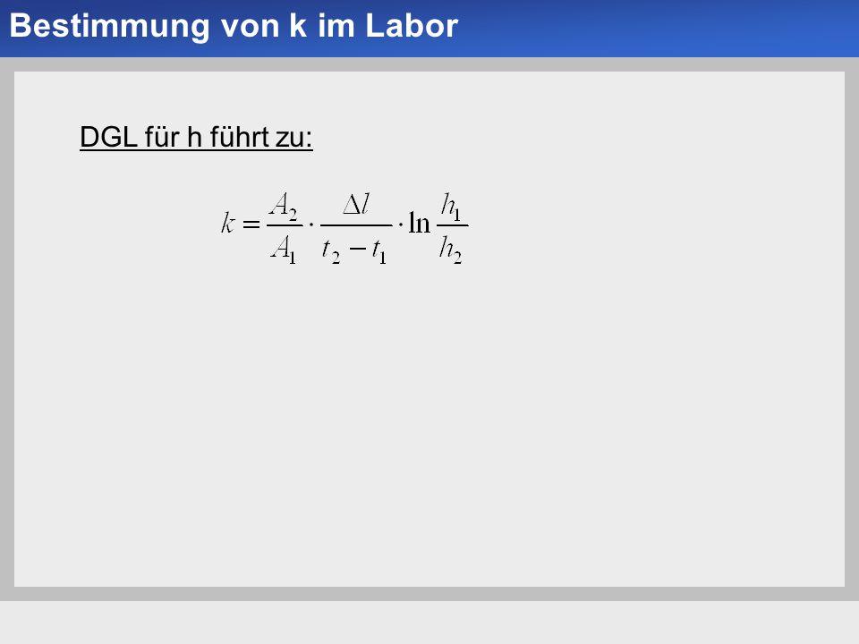 Universität der Bundeswehr München Institut für Bodenmechanik und Grundbau -11- Bestimmung von k im Labor DGL für h führt zu: