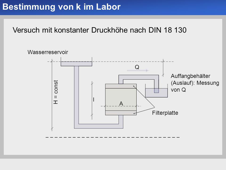 Universität der Bundeswehr München Institut für Bodenmechanik und Grundbau -8--8- Bestimmung von k im Labor Versuch mit konstanter Druckhöhe nach DIN