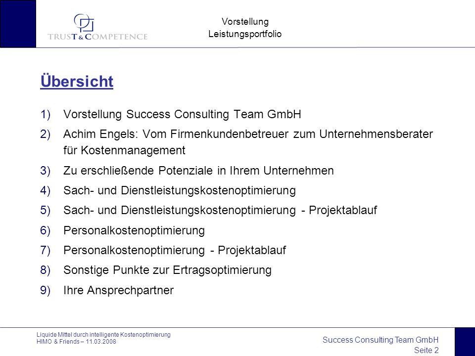 Success Consulting Team GmbH Seite 2 Vorstellung Leistungsportfolio Liquide Mittel durch intelligente Kostenoptimierung HIMO & Friends – 11.03.2008 Üb