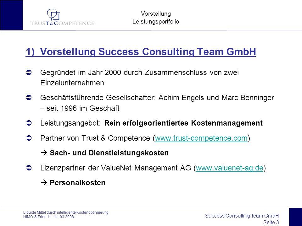 Success Consulting Team GmbH Seite 3 Vorstellung Leistungsportfolio Liquide Mittel durch intelligente Kostenoptimierung HIMO & Friends – 11.03.2008 1)
