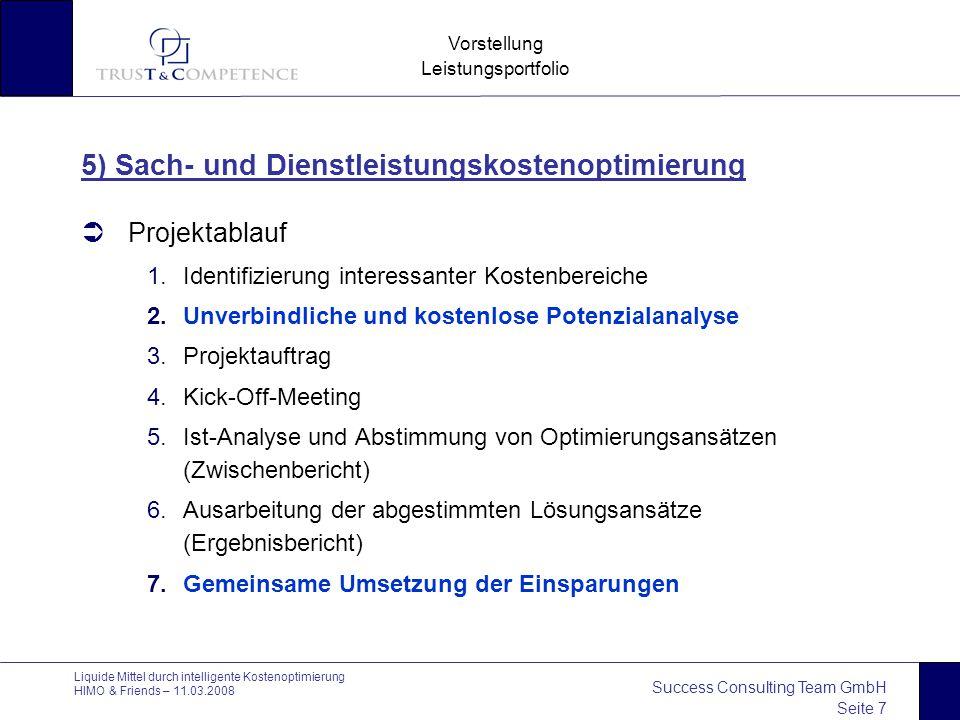Success Consulting Team GmbH Seite 7 Vorstellung Leistungsportfolio Liquide Mittel durch intelligente Kostenoptimierung HIMO & Friends – 11.03.2008 5)