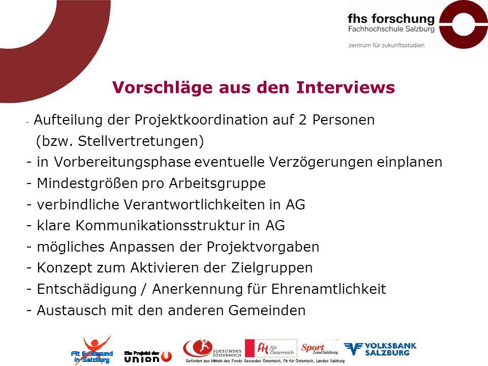 Vorschläge aus den Interviews - Aufteilung der Projektkoordination auf 2 Personen (bzw. Stellvertretungen) - in Vorbereitungsphase eventuelle Verzöger