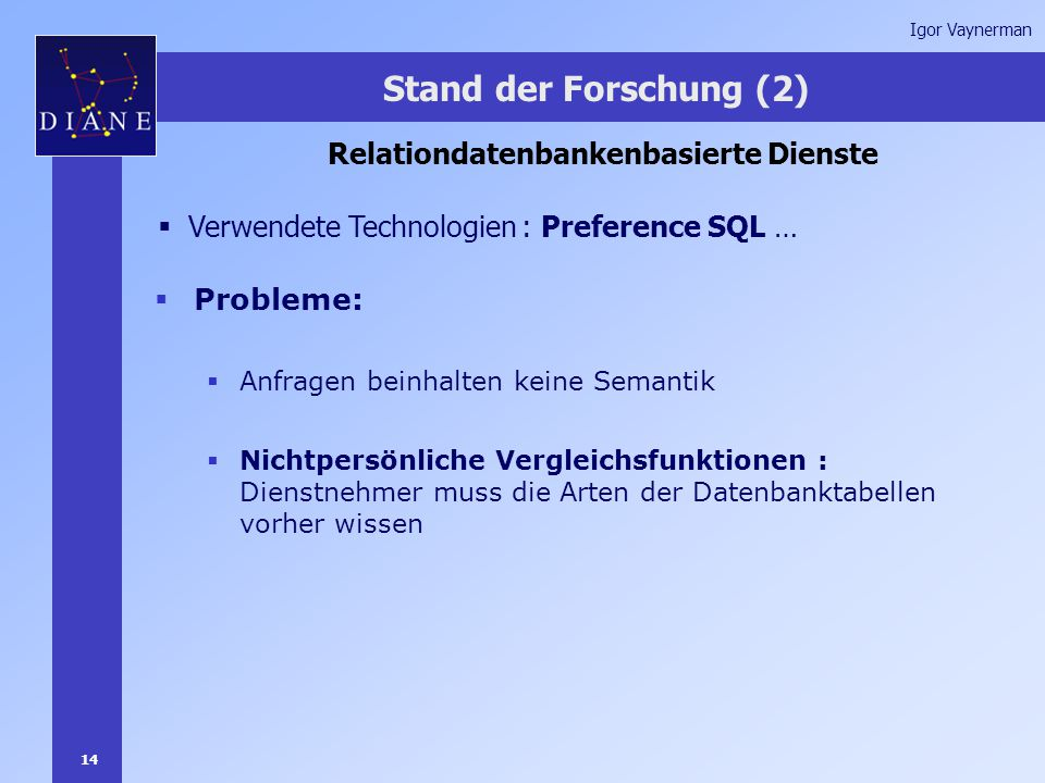 14 Igor Vaynerman Stand der Forschung (2) Relationdatenbankenbasierte Dienste  Verwendete Technologien : Preference SQL …  Probleme:  Anfragen beinhalten keine Semantik  Nichtpersönliche Vergleichsfunktionen : Dienstnehmer muss die Arten der Datenbanktabellen vorher wissen