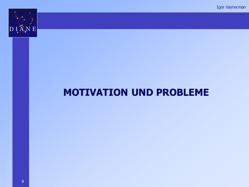 3 Igor Vaynerman MOTIVATION UND PROBLEME