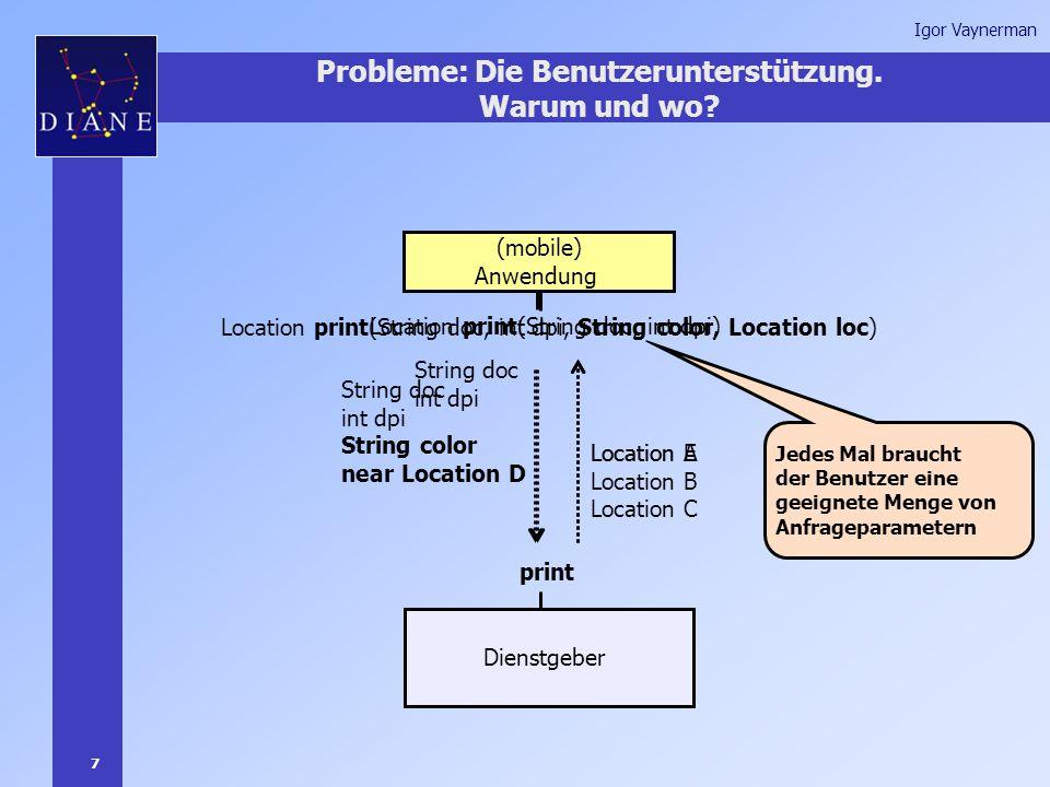 7 Igor Vaynerman Jedes Mal brauchtder Benutzer einegeeignete Menge vonAnfrage parametern Probleme: Die Benutzerunterstützung.