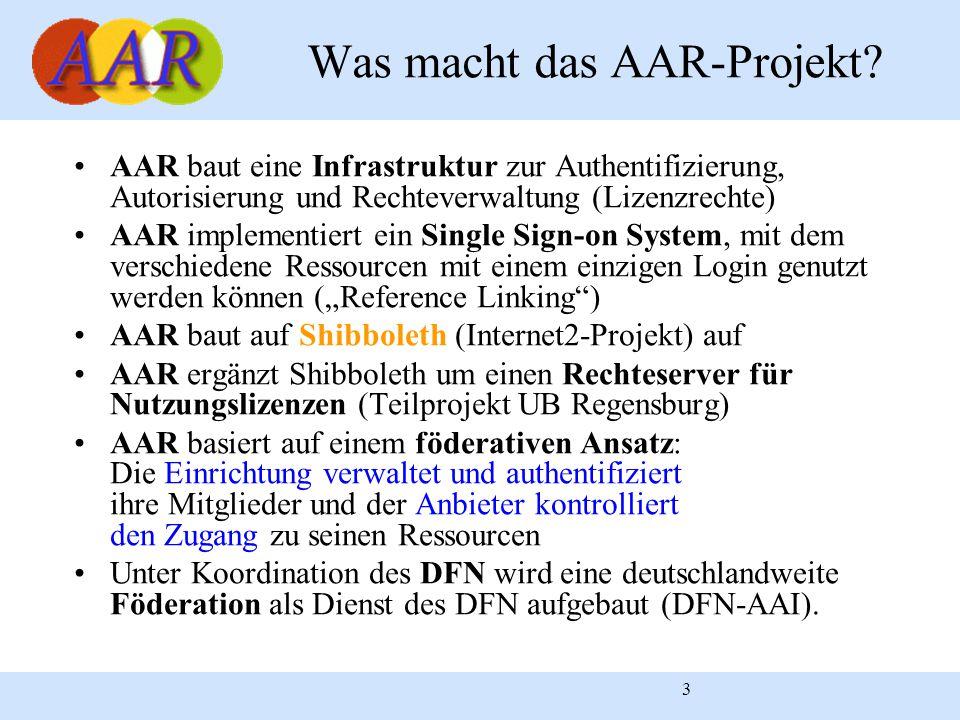 """3 AAR baut eine Infrastruktur zur Authentifizierung, Autorisierung und Rechteverwaltung (Lizenzrechte) AAR implementiert ein Single Sign-on System, mit dem verschiedene Ressourcen mit einem einzigen Login genutzt werden können (""""Reference Linking ) AAR baut auf Shibboleth (Internet2-Projekt) auf AAR ergänzt Shibboleth um einen Rechteserver für Nutzungslizenzen (Teilprojekt UB Regensburg) AAR basiert auf einem föderativen Ansatz: Die Einrichtung verwaltet und authentifiziert ihre Mitglieder und der Anbieter kontrolliert den Zugang zu seinen Ressourcen Unter Koordination des DFN wird eine deutschlandweite Föderation als Dienst des DFN aufgebaut (DFN-AAI)."""