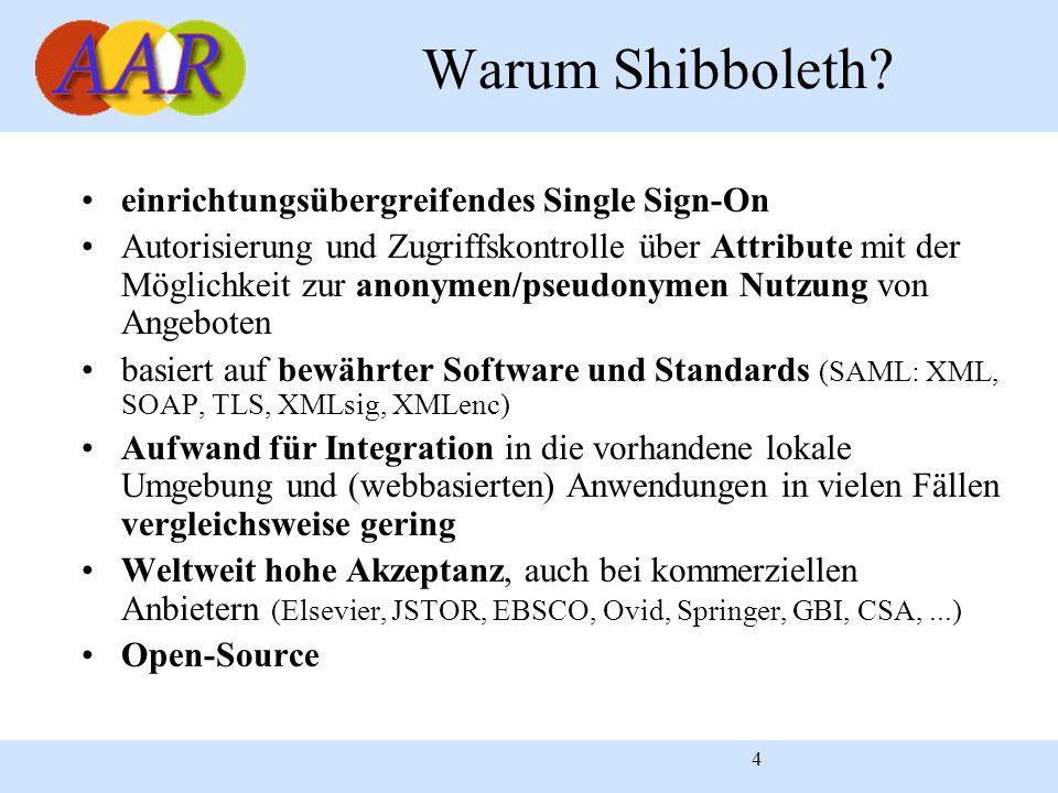 4 Warum Shibboleth? einrichtungsübergreifendes Single Sign-On Autorisierung und Zugriffskontrolle über Attribute mit der Möglichkeit zur anonymen/pseu