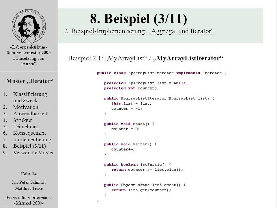 """Folie 14 Jan-Peter Schmidt Matthias Teske -Fernstudium Informatik- -Matrikel 2000- 8. Beispiel (3/11) 2. Beispiel-Implementierung: """"Aggregat und Itera"""