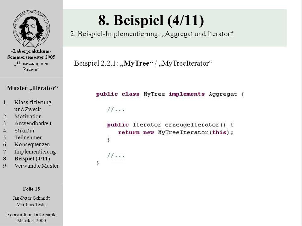 """Folie 15 Jan-Peter Schmidt Matthias Teske -Fernstudium Informatik- -Matrikel 2000- 8. Beispiel (4/11) 2. Beispiel-Implementierung: """"Aggregat und Itera"""