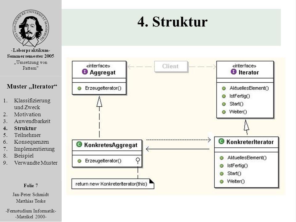 """Folie 7 Jan-Peter Schmidt Matthias Teske -Fernstudium Informatik- -Matrikel 2000- 4. Struktur Muster """"Iterator"""" 1.Klassifizierung und Zweck 2.Motivati"""