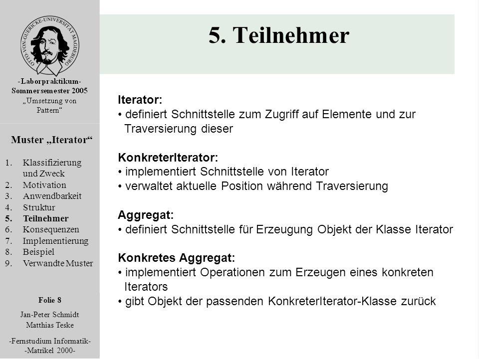 """Folie 8 Jan-Peter Schmidt Matthias Teske -Fernstudium Informatik- -Matrikel 2000- 5. Teilnehmer Muster """"Iterator"""" 1.Klassifizierung und Zweck 2.Motiva"""