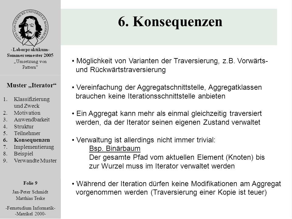 """Folie 9 Jan-Peter Schmidt Matthias Teske -Fernstudium Informatik- -Matrikel 2000- 6. Konsequenzen Muster """"Iterator"""" 1.Klassifizierung und Zweck 2.Moti"""