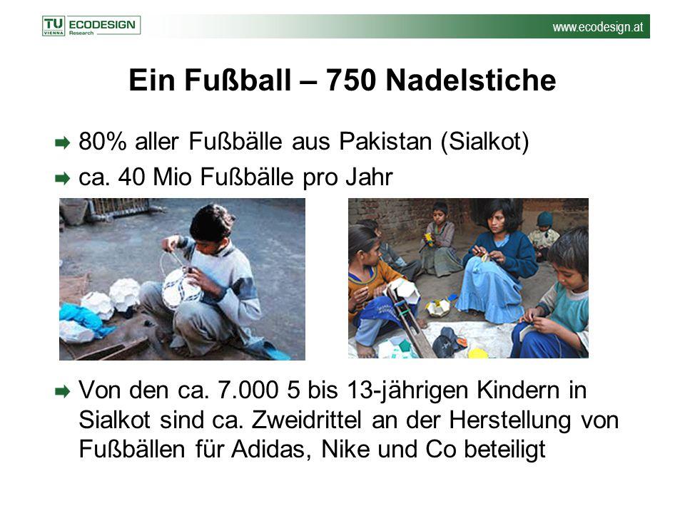 www.ecodesign.at Ein Fußball – 750 Nadelstiche 80% aller Fußbälle aus Pakistan (Sialkot) ca. 40 Mio Fußbälle pro Jahr Von den ca. 7.000 5 bis 13-jähri